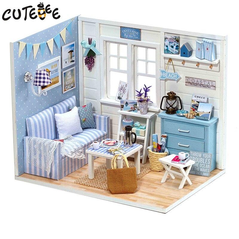 Casa de bonecas móveis diy miniatura capa poeira 3d miniaturas de madeira brinquedos para crianças presentes aniversário gatinho diário h16