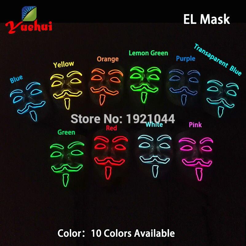 10 COLORES Elección NUEVA Fashion Flashing EL wire Vendetta mask - Para fiestas y celebraciones - foto 4