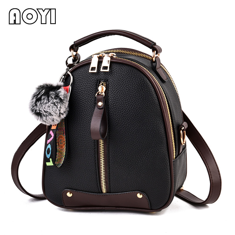 AOYI Mini Women Bags Women Backpack Fashion PU Leather Small Back pack Patchwork Shoulder Bag for Teenager Double Use Bag Girls