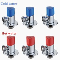 Free Shipping 6 Pieces New 1 2 X 1 2 Red Blue Brass Bathroom Angle Stop
