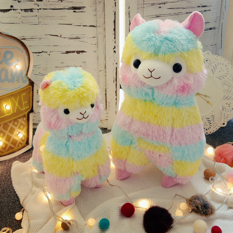 RAINBOW 3 Alpaca Brinquedo De Pelúcia Tamanho Bonecas Para Crianças Brinquedos Do Bebê Animais de Algodão Macio de Alta Qualidade Para O Presente