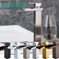 KEMAIDI Short & Long Waterfall Mixer 6 Finished Choice Bathroom Basin Faucet Brass Antique Hot and Cold bathroom Sink Taps