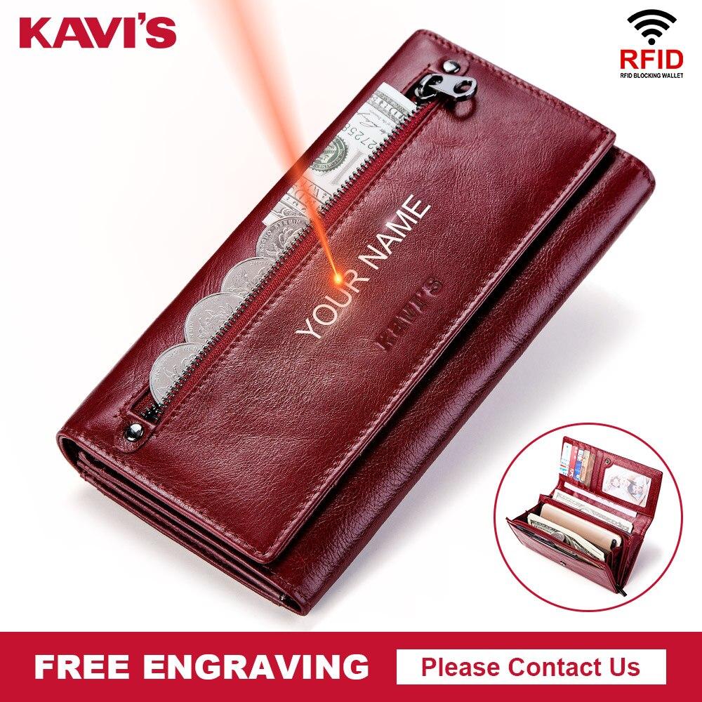 KAVIS portefeuille et porte-monnaie femme en cuir véritable porte-monnaie Portomonee pince pour sac d'argent fermeture éclair pratique Perse gravure gratuite