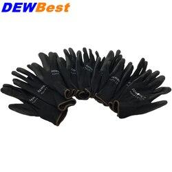 Freies Shipping12 Paar PU Arbeit Handschuhe Sicherheit Grip leder arbeits handschuhe Licht gewicht Grau SPANDEX Schutz Handschuhe