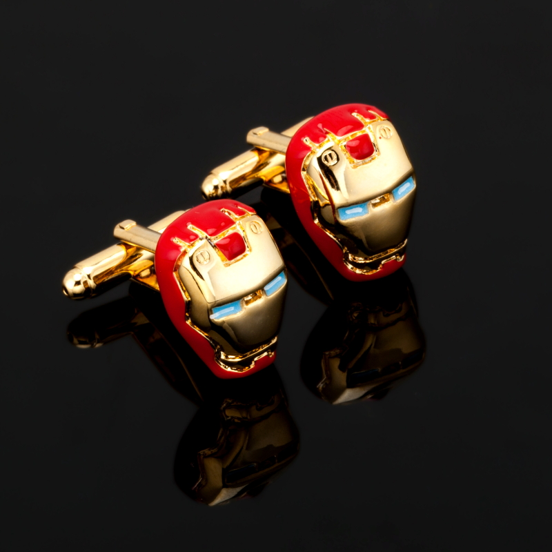 Promotion Fashion Iron Man Cufflink For Men Jewelry movies Comics The Avengers Cuff Link French Shirt Sleeve Button Gifts