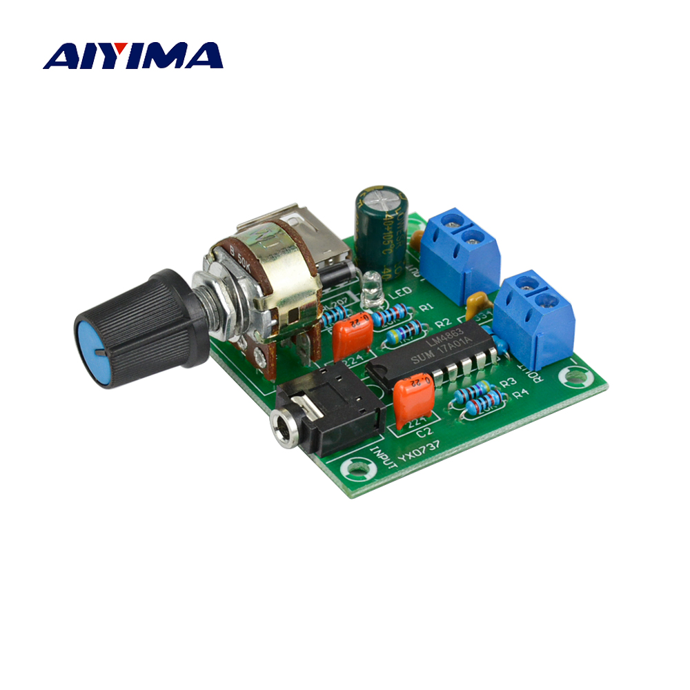 Aiyima New Mini Power Amplifier Board 5W*2 HIFI Two-channel PM CM2038 Audio Amplifier 5V USB Supply Power 3pcs lot stk412 150 stk412 two channel shift power supply audio power amplifier ics 150w 150 w