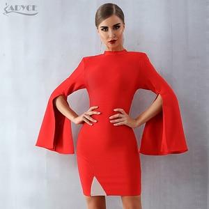 Image 2 - Adyce 2020 New Winter Women Red Bodycon Bandage Dress Sexy Flare Sleeve Black Club elegante Celebrity Evening Runway Party Dress