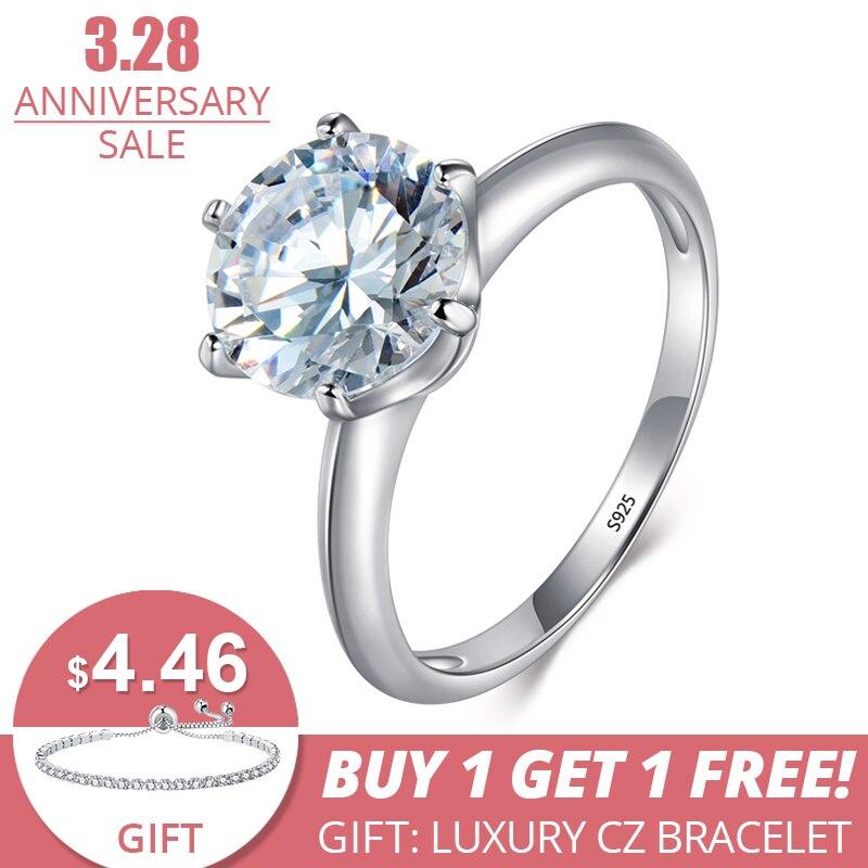 c180bc8afa6c 3Ct Modian 2019 anillo de Plata de Ley 925 claro seis garra de Zirconia  cúbica de boda clásico de la joyería para las mujeres - a.dedede.me