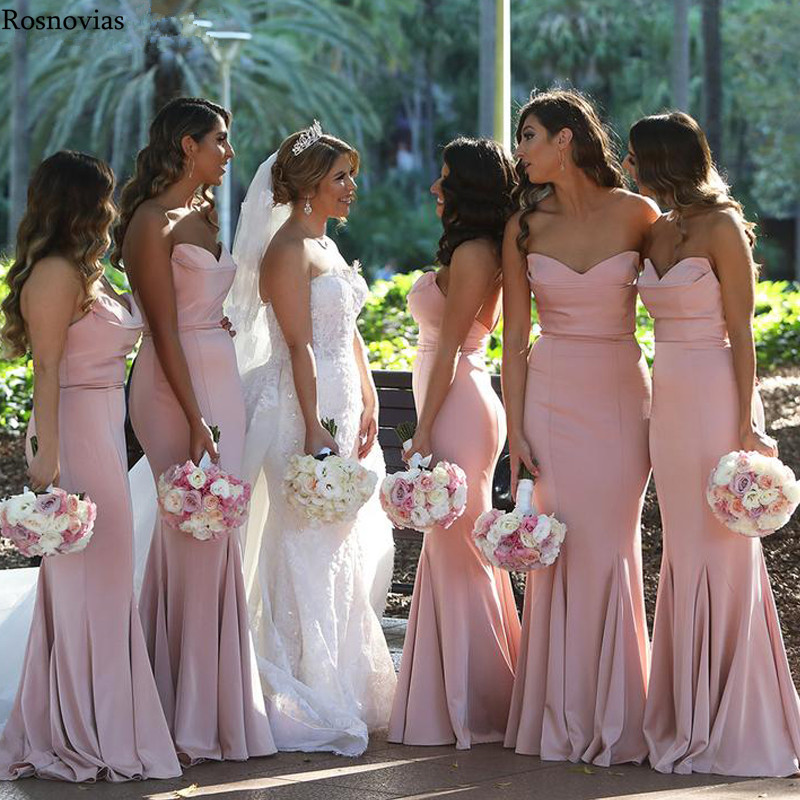 Pink Long Mermaid   Bridesmaid     Dresses   2019 SweetheartBackless Sweep Train Simple Wedding Guest   Dresses   Maid Of Honor Gowns Cheap