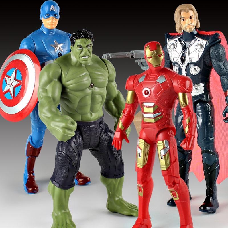 2017 New Avengers Super hero Iron Man Hulk Toys With LED Light PVC Action Figure Model Toys Kids Halloween Gift