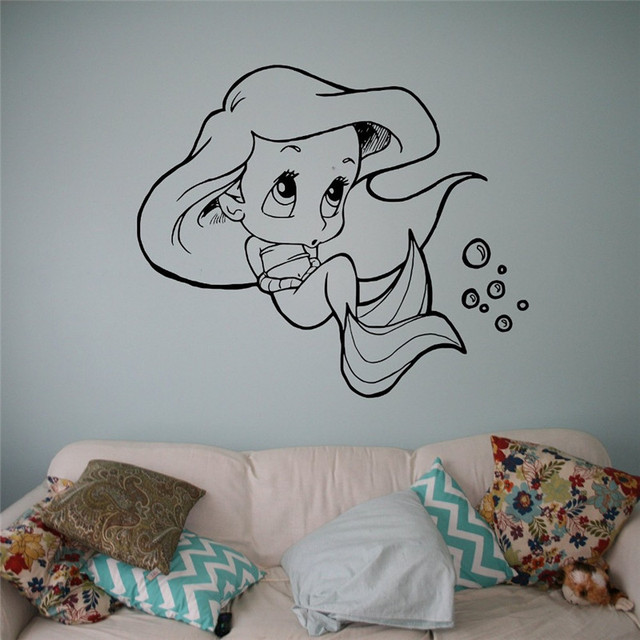Little Mermaid Vinyl Decal Princess Ariel Wall Sticker Cartoons Home  Interior Childrenu0027s Nursery Room Decor