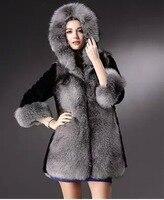 קצר ארוך פרווה מזויפת מעיל פרוות שועל יוקרה סלעית שני סוגים מעיל אפור שחור עבים וחמים חורף בתוספת גודל Casaco E123
