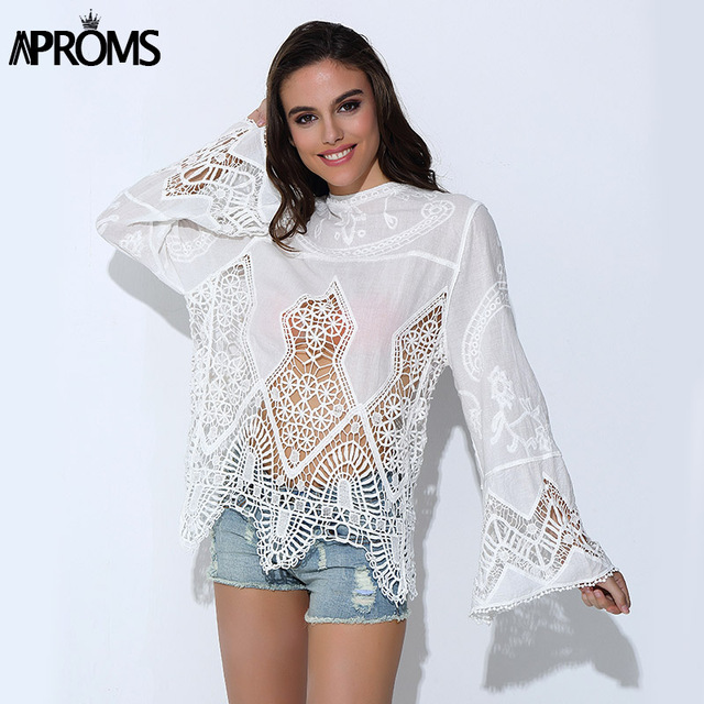 abba765ff Aproms Summer Lace Blouse 2017 Women Long Sleeve Embroidery Crochet Sheer  Shirt Tops Winter Sexy Casual