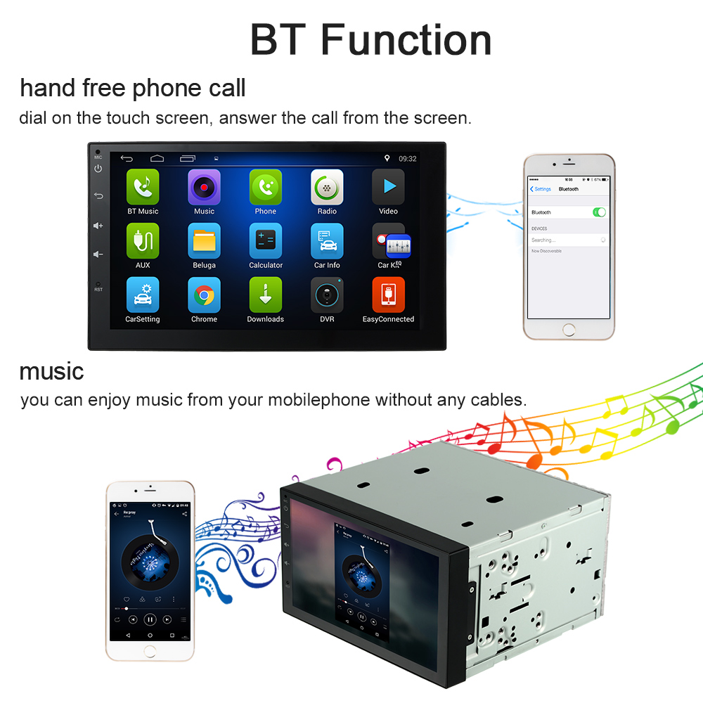 KKmoon 2 Din HD Touch Screen Car Stereo Radio Player GPS ...