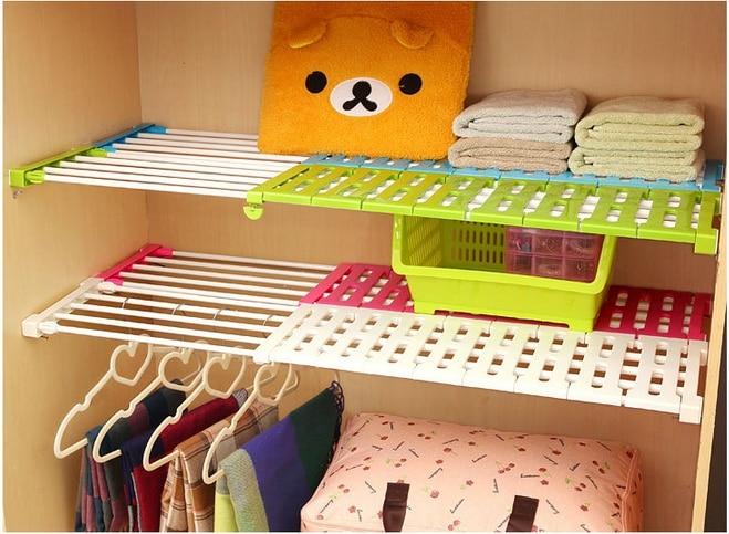 Wardrobe Storage Layered Separator Kitchen Bathroom Storage Rack Cabinets 50x24cm Scalable Finishing Frame