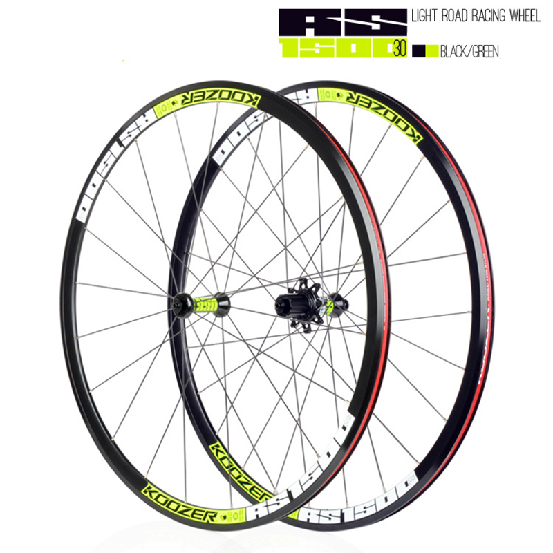 KOOZER RS1500 wheel road bike 30mm rim front 2 rear 4 Bearing 72 ring 700C road bicycle wheel set  2: 1 spokesKOOZER RS1500 wheel road bike 30mm rim front 2 rear 4 Bearing 72 ring 700C road bicycle wheel set  2: 1 spokes