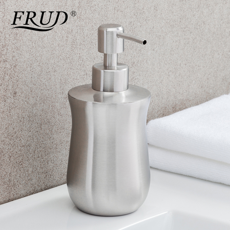 Frud Stainless Steel Liquid Soap Bottle Brushed zeep Dispenser Bathroom Accessories Modern Silver without Installation Y35006 image