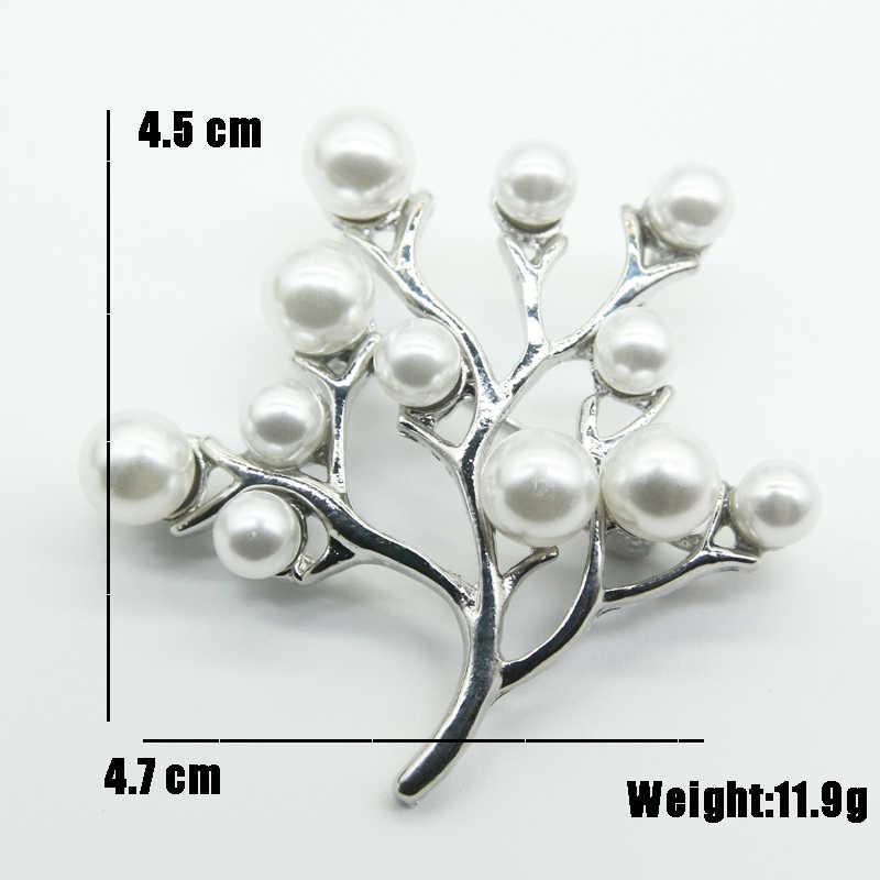 RHao 新到着真珠生活の木のブローチ女の子ドレスコート宝石命の木のブローチピン服アクセサリー