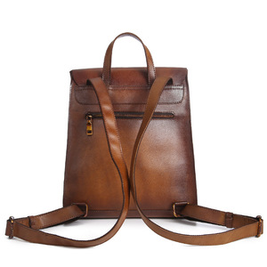 Image 2 - Johnature 2020 New Genuine Leather Backpack Women Bag Cow Leather Vintage Solid Color Backpacks Women Fashion Travel Bag