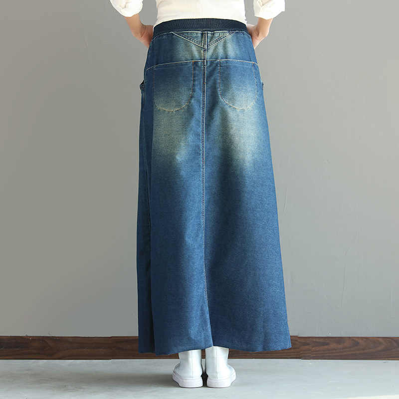 64896f43d 2018 New Arrival Womens Maxi Skirt High Elastic Waist Vintage Autumn Denim  Skirts Ladies Bleached Long Skirt Jupe Jean Femme