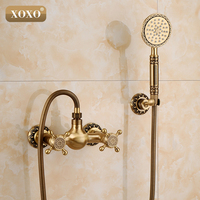 Bathroom Bath Wall Mounted Hand Held Antique Brass Shower Head Kit Shower Faucet Sets 50027B