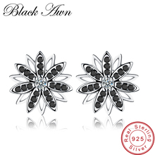 [BLACK AWN] Flower Genuine 925 Sterling Silver Jewelry Black Spinel Stone Engagement Stud Earrings for WomenT119 цена