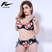 Impresión de alta cintura bikini 2016 de las mujeres más el tamaño de trajes de baño nuevos bikinis mujeres traje de baño brasileño biquini push up bikini conjunto
