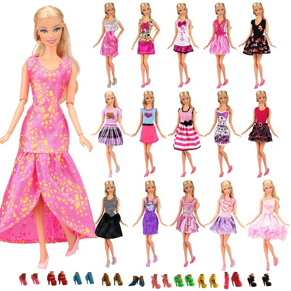 Fashion 22 Items/lot dolls accessories =12 doll dresses+ Kids Toys 10 Shoes Random Things For Barbie Game DIY Birthday Present