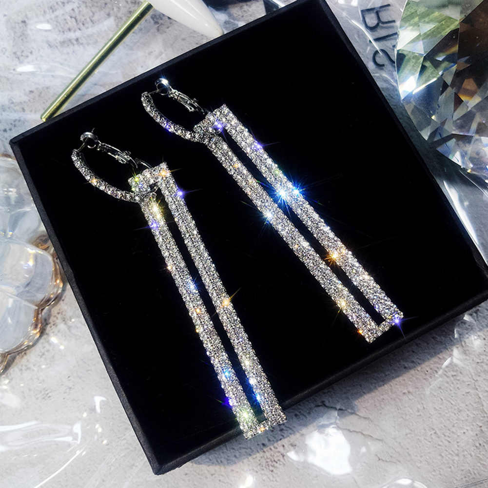 2019 New Chic Full Crystal Earrings Women Jewelry Exaggerated Rectangular Drop Earrings Wedding Party Earrings for Women Gift