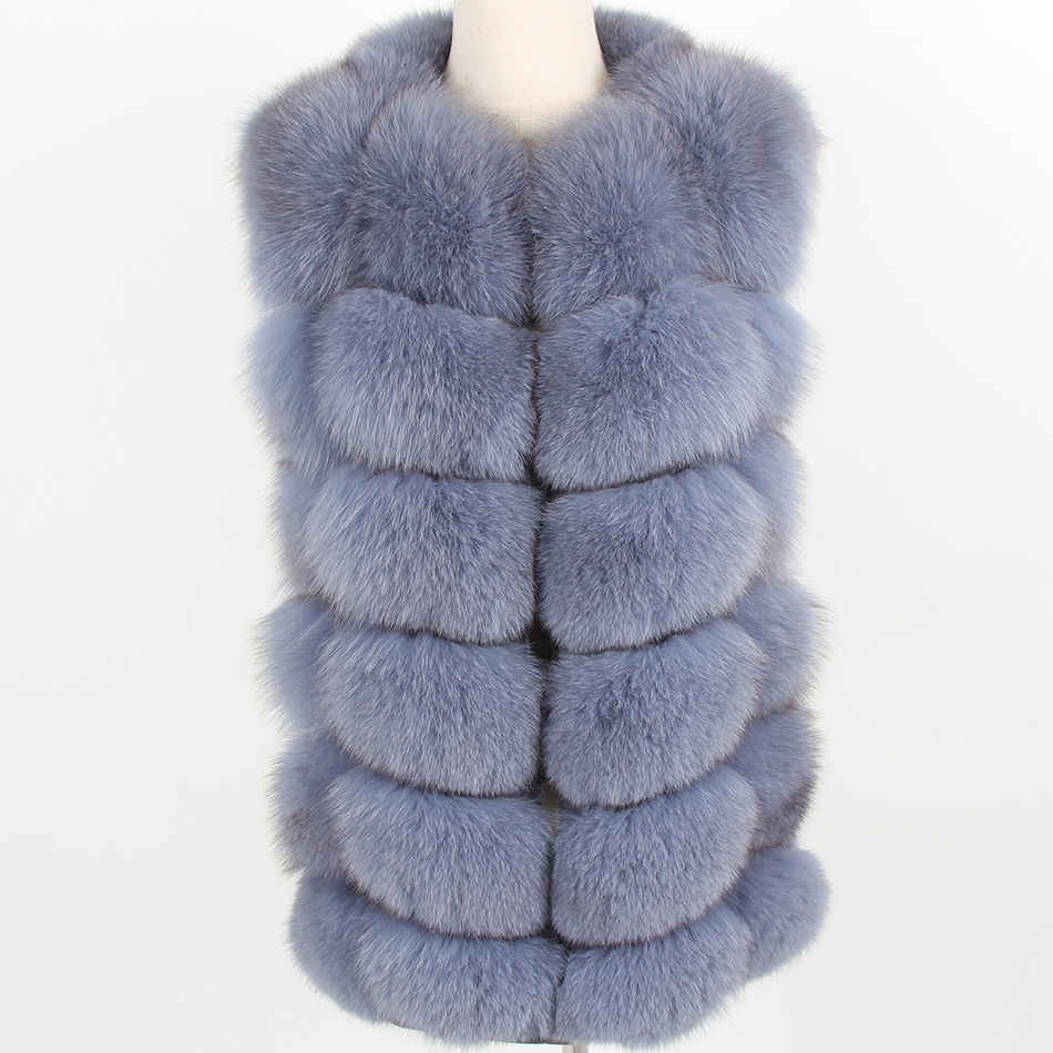 Maomaokong Coat Jacket Vest Fox-Fur Natural Women's Park Fashion Grass Puls Size-Grey