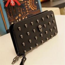 2018 Лидер продаж для женщин женские кошельки металлический череп бумажник карты Кожаный браслет Portefeuille сумки Carteira Feminina