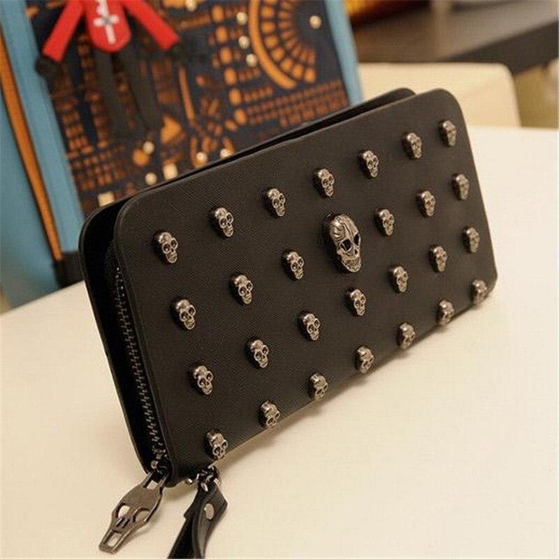2018 heißer Verkauf Frauen Brieftaschen Metall Schädel Brieftasche Karte Geldbörse Leder Armband Portefeuille Handtaschen Carteira Feminina