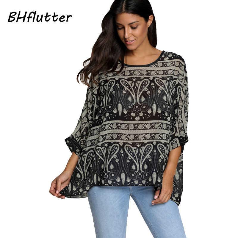 b187148f746 ... BHflutter женские блузки летние топы футболки новый стиль 2018 летучая  мышь Повседневная шифоновая блузка рубашка 4XL ...