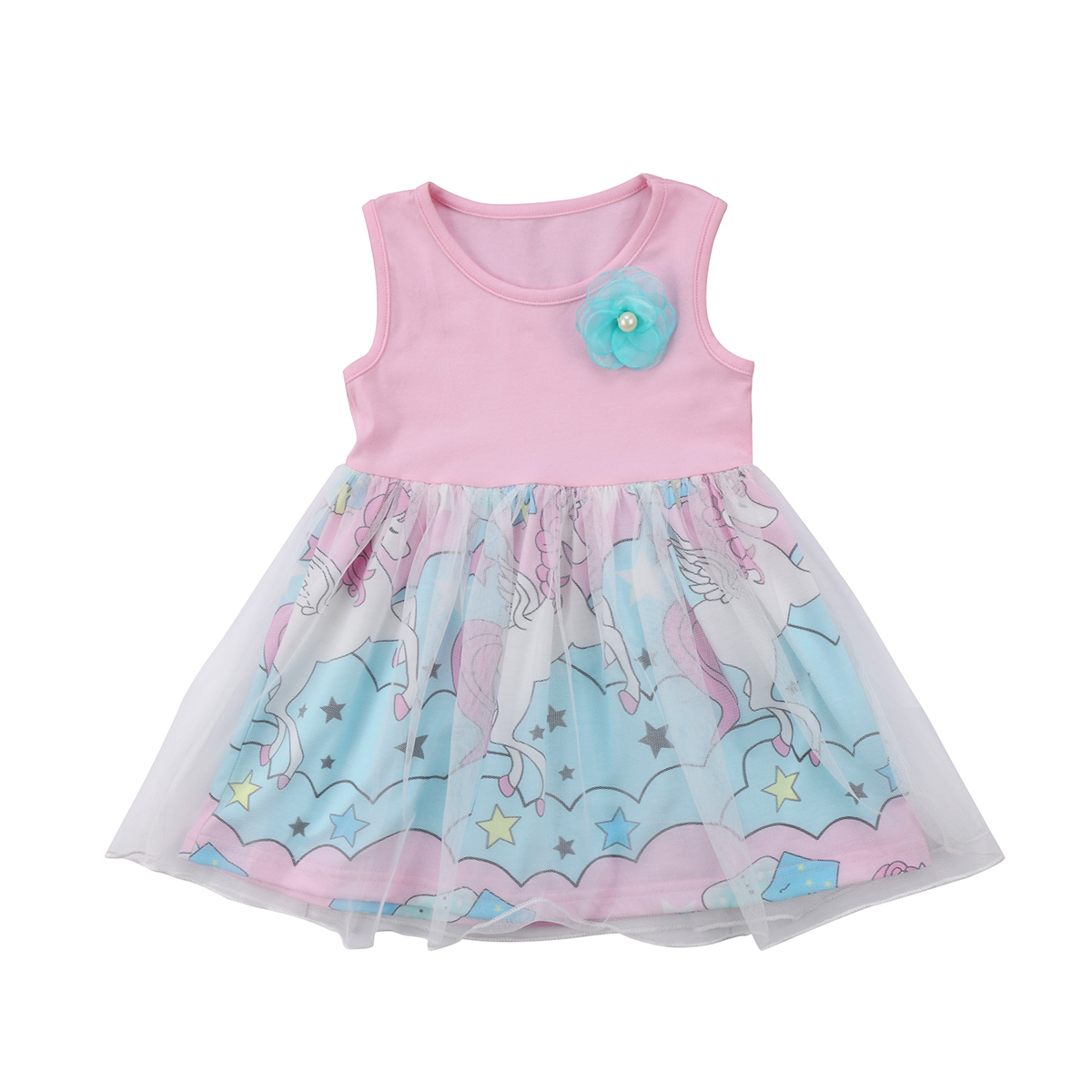 Newborn Toddled Kids Baby Girls Floral Unicorn Sleeveless O Neck Pageant Party Tulle Tutu Dress Clothes Summer
