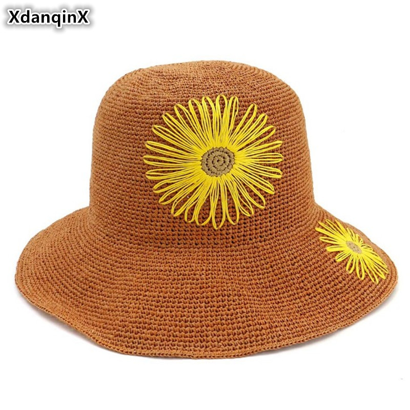 XdanqinX Elegant Lady Straw Hat Extra-fine Hand Crocheted Sun Hats Foldable Adult Womens Beach Flower Decoration Female Cap