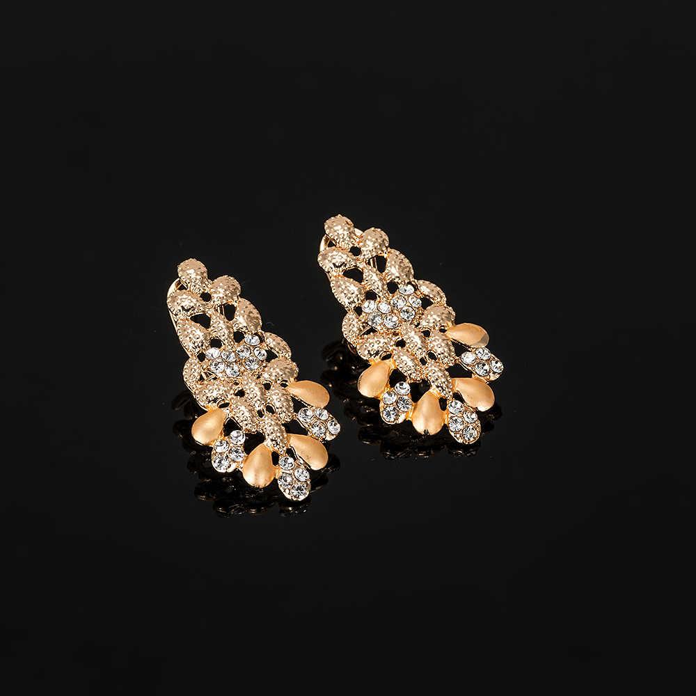 2019 NEW Dubai Gold Jewelry Sets Nigerian Wedding African Beads Crystal Bridal Jewellery Set Rhinestone Ethiopian Jewelry parure