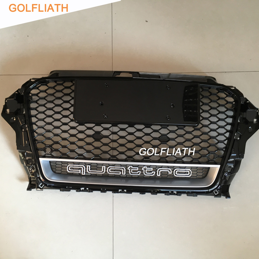 GOLFLIATH A3 RS3 Styling Grille ABS Auto Car Front Mesh Grills With Camera Hole quattro logo For Audi A3 S3 RS3 2013-2015