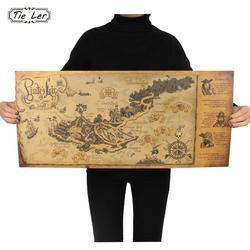 Retro Kraft Pirate Sailing World Map Poster Wall Sticker Living Room Bar Cafe Decor Ancient World Vintage Maps 72.5X33cm