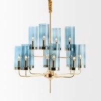 Современная Nordic Гостиная Подвесные светильники Post современный простой Спальня синий стекло абажур свет Роскошные E14 осветительное оборудо