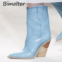 Bimolter  Fashion PU Leather Women Mid-calf Boots Pointed Toe Western Cowboy Chunky Strange High Heels Shoes NC076