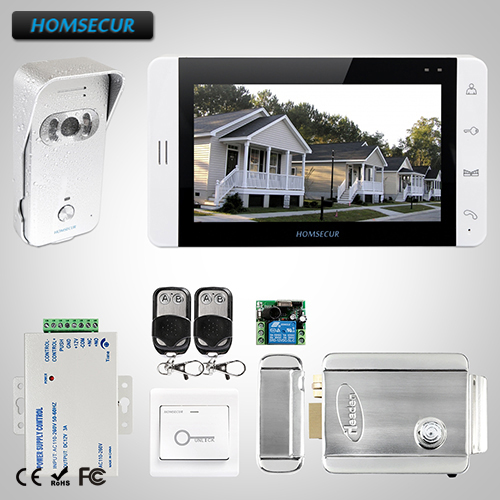HOMSECUR 7Wired Video&Audio Home Intercom+Monitor for Apartment L3:TC021-S Camera(Silver)+TM703-W Monitor(White)+LockHOMSECUR 7Wired Video&Audio Home Intercom+Monitor for Apartment L3:TC021-S Camera(Silver)+TM703-W Monitor(White)+Lock
