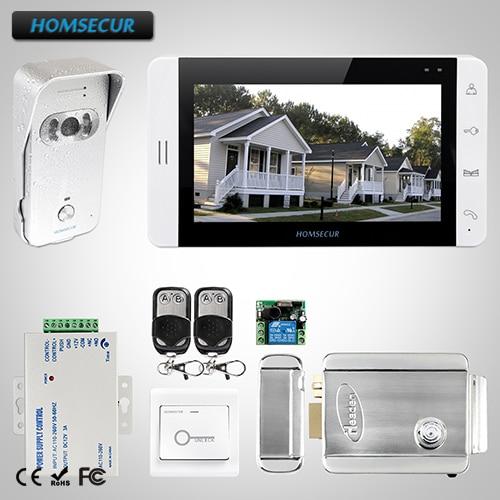 "HOMSECUR 7""Wired Video&Audio Home Intercom+Monitor for Apartment L3:TC021-S Camera(Silver)+TM703-W Monitor(White)+Lock"