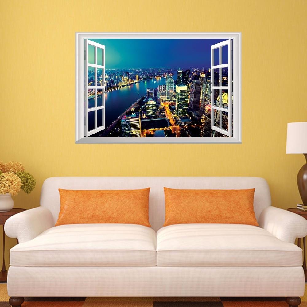 3D City Night Simulation Window Wall Sticker Home Decor Living Room ...