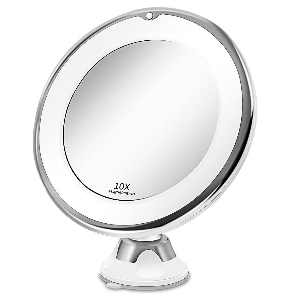 Espelho de maquiagem vaidade com 10x luzes led iluminado portátil mão cosméticos ampliação light up espelhos vip dropshipping