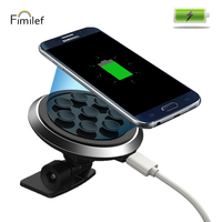 Fimilef Fast Qi Wireless Charger Transmitter Car Stand Sucker Phone Holder Car Charging For Samsung Galaxy S8 iPhone 8 X xiaomi