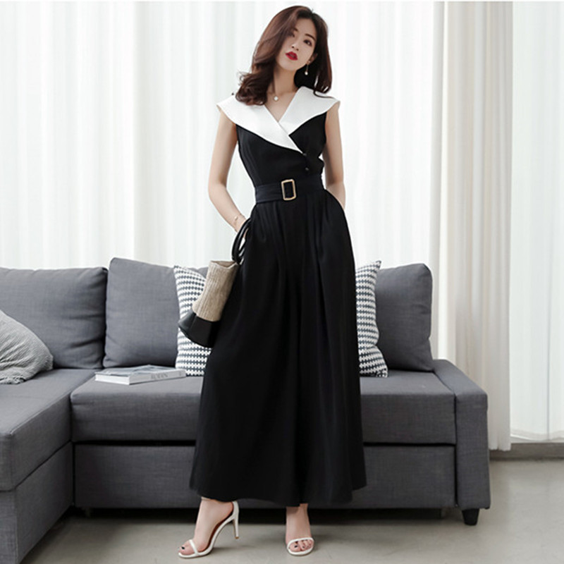 2019 Unique Elegant Wide Leg Jumpsuits Fashion Summer New Office Lady Rompers Black Splicing White Wide