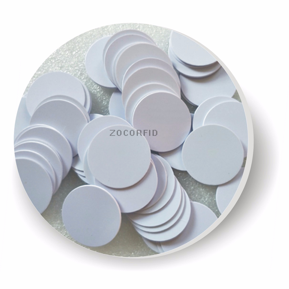 100pcs Coin Style  S-50(Compatible With) Chip Smart Card Chip/13.56MHZ IC Card Coil RFID Tags/IC Card Chip/ White