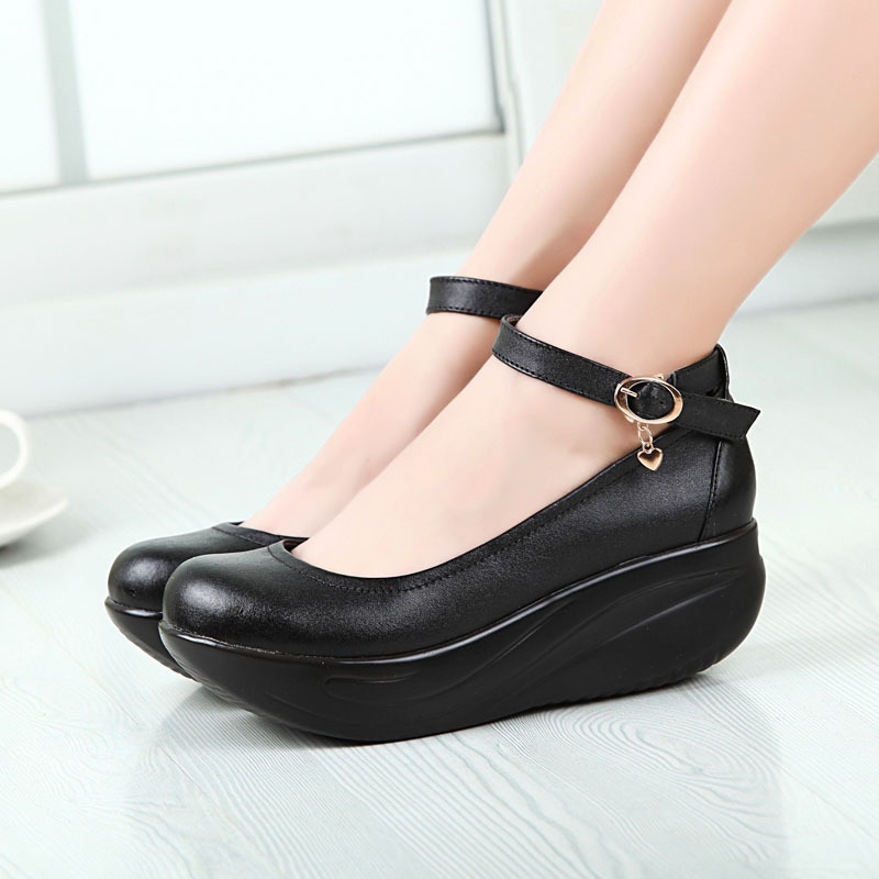 ФОТО Genuine Leather Women Work Shoes 2015 Fashion Black Leather Swing Shoes Wedge Ladies Single Shoes