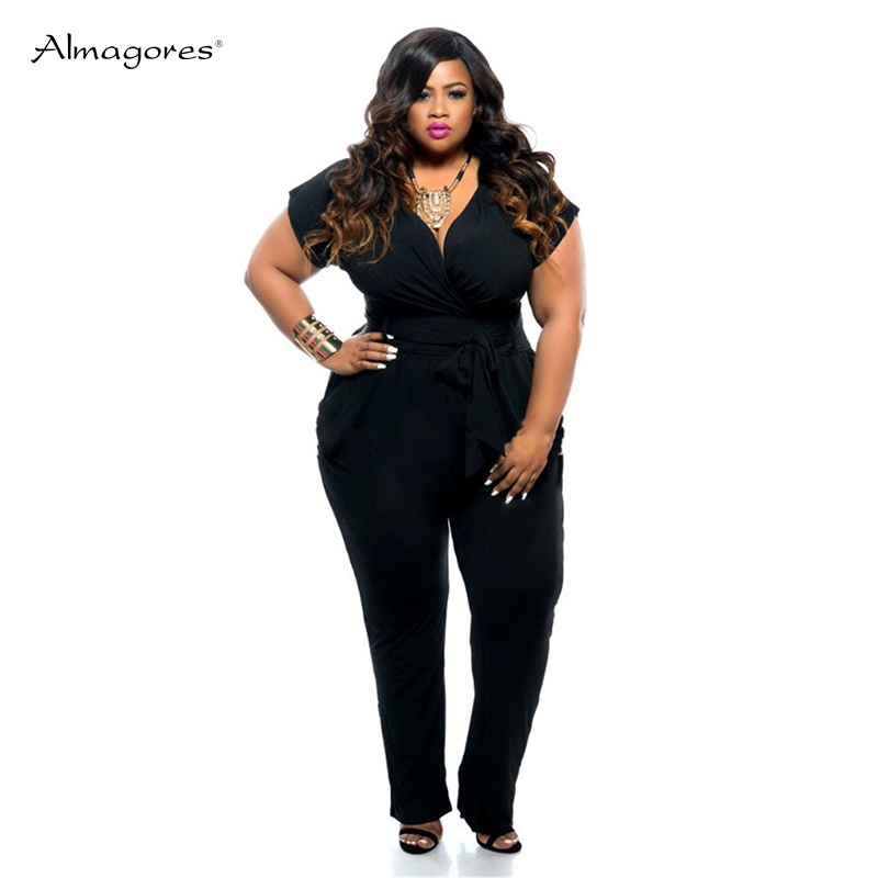 Almagores Fashion Women Jumpsuit Plus Size L-3XL Short Sleeve Loose Elegant Sexy Jumpsuit Rompers Big Size Long V Neck Jumpsuits