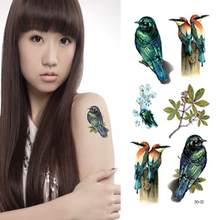 3D Temporary Tattoo Body Art Stickers 19x9cm 3D Peace Swallow Bird Waterproof Henna Tatoo Selfie Fake Tattoo Sticker